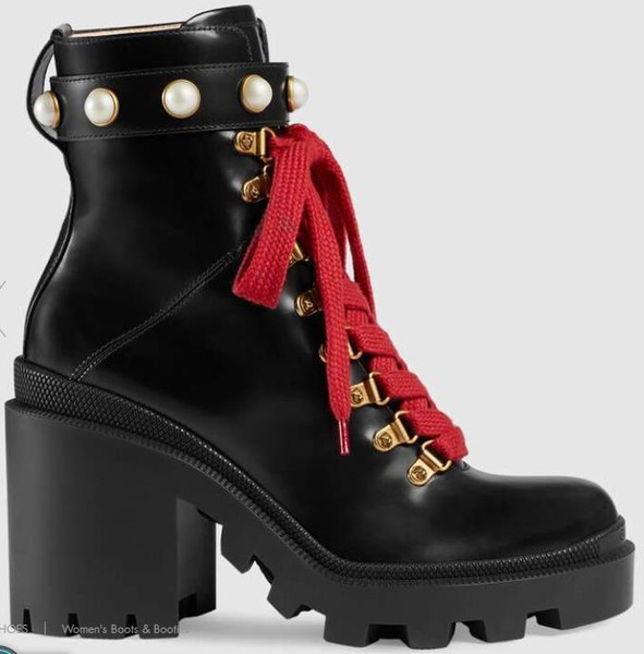 Branded Women Fur Leather Lace-up Gold-toned Eyelets Boot Design Lady Tweed Pearl Strap Wrap Rubber Lug Sole Heeled Ankle Boot