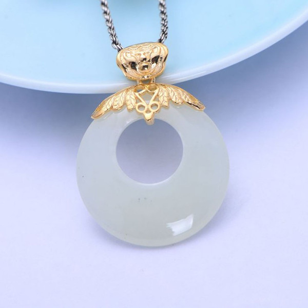 18K Gold Plated Silver Inlaid Natural White Hetian Jade Circle Pendant Necklace Women Retro China Style Jewelry