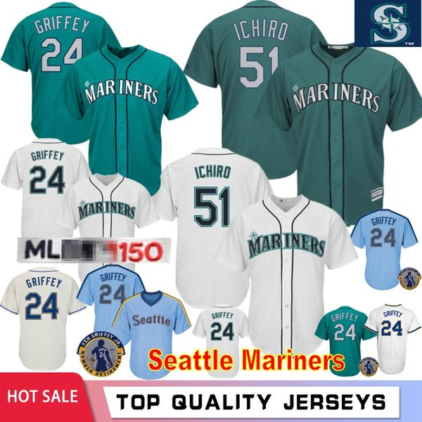 51 Ichiro 24 Griffey Jr Seattle 22 Robinson Cano Mariners Men's Baseball Jerseys 100% Stitched Logo Top Quality Shirt
