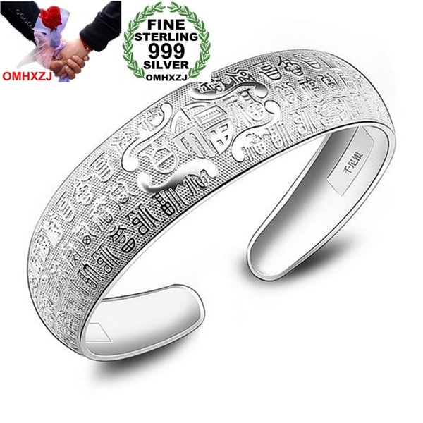 OMHXZJ Wholesale Fashion Woman Child Anniversary Gift Hail Pfaff Fine 999 Sterling Silver Bracelet Bangle Open Adjustable SZ54