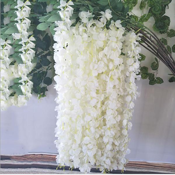 3 Modelle Seide künstliche Blume Pflanzen Glyzinien Blume String Hortensie Rebe Hochzeitszeremonie Dekor Hausgarten / Party Dekorationen Großhandel