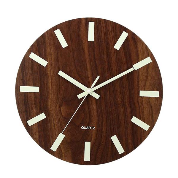 12 Inch Round Glow Luminous Wall Clock In The Dark Quartz Bedroom Home Office UK