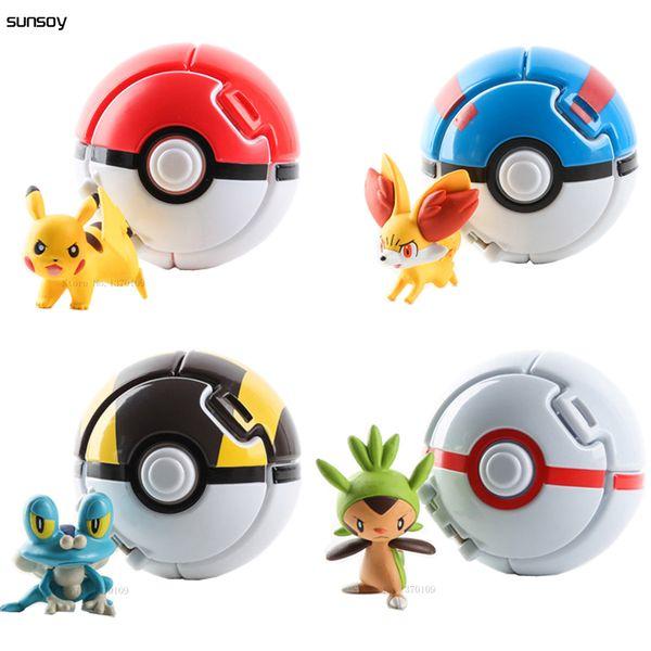 4 adet / grup Elf Kavrama Pokeball Oyuncaklar Pikachu Elf Topu Pikachu Topları Pikachu Ile 7 cm Karikatür Film Eğitici Oyuncaklar Y19051804 Rakamlar