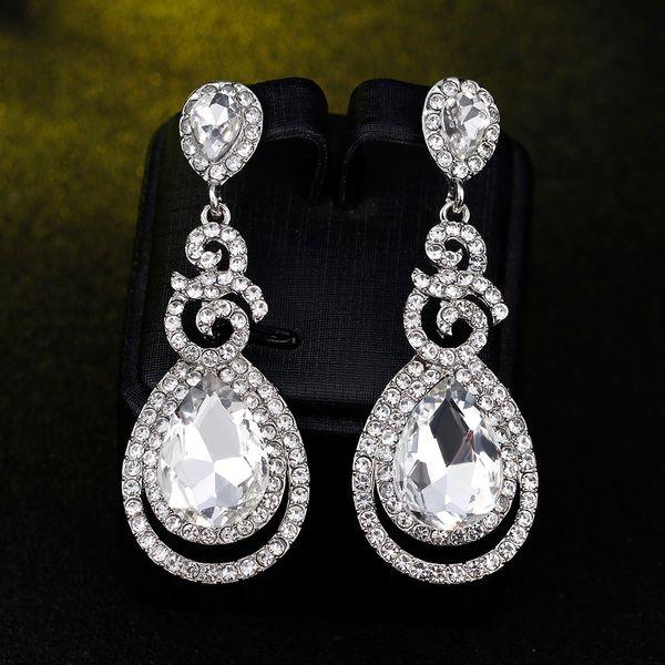 Nuevos Pendientes de Novia con Cristales Piedras de Imitación Pendiente de Gota de Agua Joyería Nupcial Resultados de la Boda Para Novias BW-096