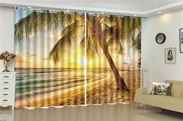 2019 3D Curtain Living Room Sunset And Beautiful Seaside Scenery Beautiful  And Practical Blackout Curtains In The Living Room Bedroom From Yunlin189,  ...