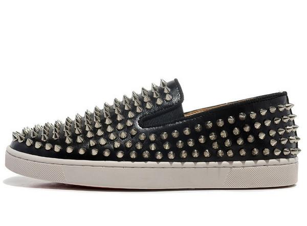 2019 chaussures de bureau de concepteur de bureau Spike Low Cut Party robe chaussures de sport bas rouge baskets luxe partie en cuir véritable chaussures de sport