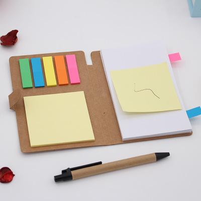 best selling Kraft paper buckle note book, office convenience note, combination convenience sticker with pen