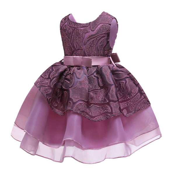 3 5 6 7 8 Age Kids Ball Gown Dresses for Girls Child Clothing Teenage Purple Sleeveless Bow Birthday Party Princess Tutu Dress
