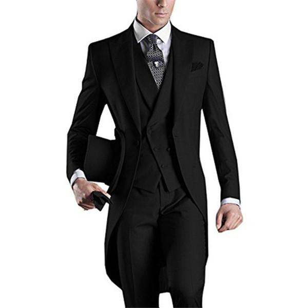 2019 Black Italian Tailcoat Morning Wedding Suits for Men Groomsmen Tuxedo 3 pieces Groom terno masculino Peaked Lapel Mens Suit