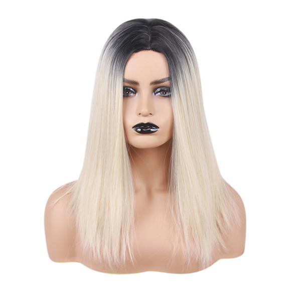 HAICAR Or Longue Ligne Droite Perruques pour les femmes Perruque Synthétique Noir Droite Full Lace Perruques Partie Cheveux Extension de cheveux 45 #