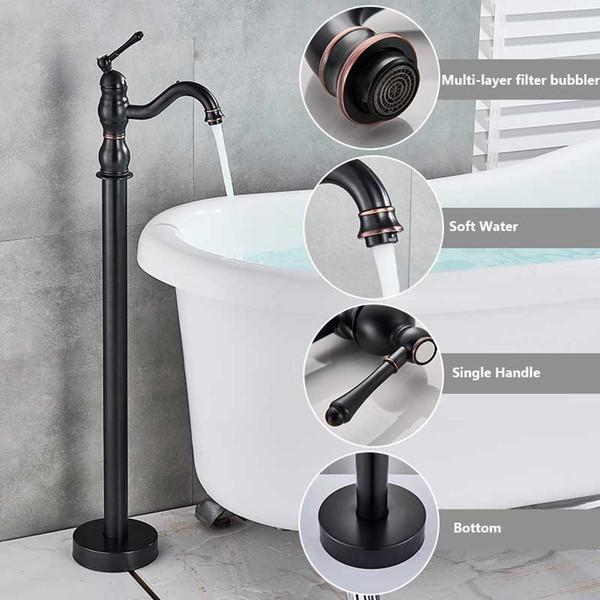 Großhandel Schwarz Bronze Badewanne Dusche Wasserhahn Boden Stehende  Badewanne Auslauf Dusche Einhand Mischbatterie Badezimmer Dusche Wasserhahn  ...