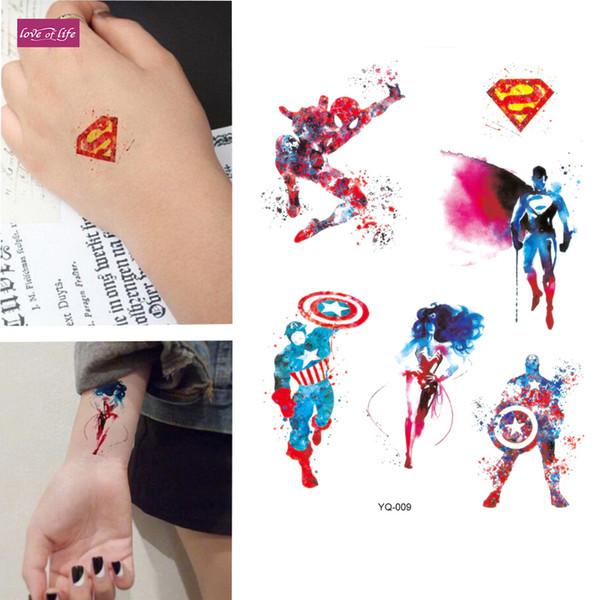 8381bf961 Superman spiderman Temporary Tattoo Stickers For Kids Boys Superheros Union  Fake Flash Waterproof Tattoo
