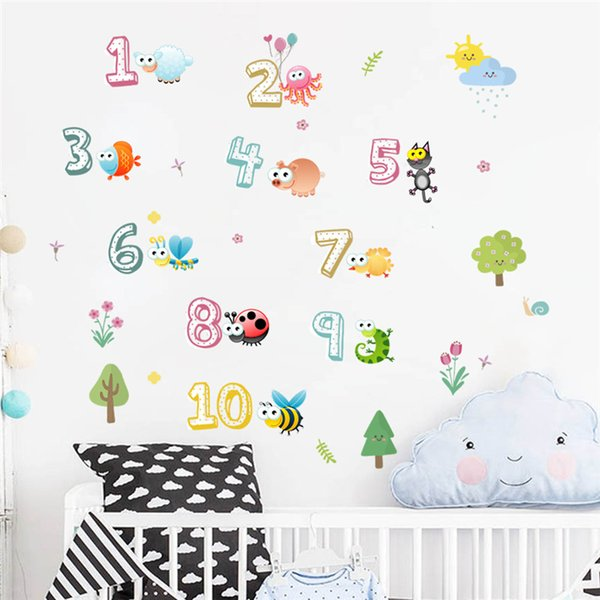 Cartoon 26 Letters Number Plant Bird Home Decor Wall Stickers For Kids  Rooms Alphabet Mural Children Bedroom Wall Decal Large Decals For Walls  Large ...