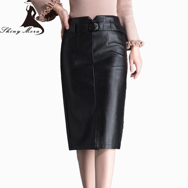 6b32c90dc Compre Shinymora 2017 Nuevo Invierno Y Otoño Pu Faldas Para Las Mujeres De  Cintura Alta Con Cinturón De Alta Calidad De Cuero Elegante Faldas Para ...