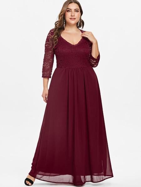 Wipalo Plus Size Sweetheart Neck Lace Panel Maxi Dress 5XL Women Fashion Solid Long A-Line Dresses Floor-Length Ladies Vestidos