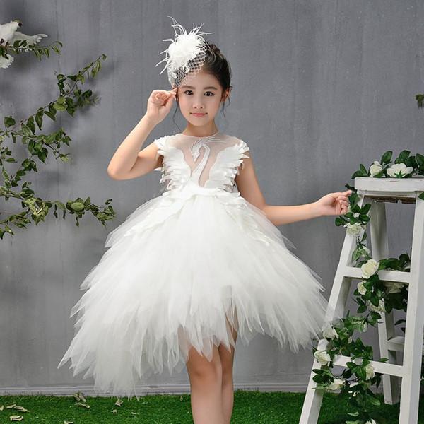 Cross-border girl dress fashion evening dress white princess ponponade dress model walk Xiuhua children tuxedo
