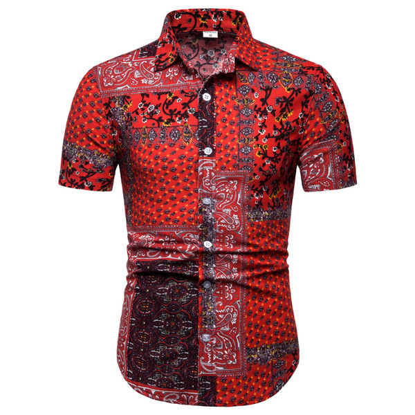 Vintage Floral Men Shirts 2019 New Travel Wear Tops Short Sleeve Linen Clothes Business Man Casual Blouse Turn-down Collar Blusa