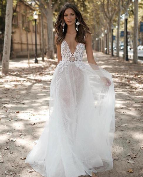 Robes de mariée 2019 sexy plage d'été une ligne robe de mariée, plus la taille robes de mariée voir à travers la dentelle blanche tulle boho