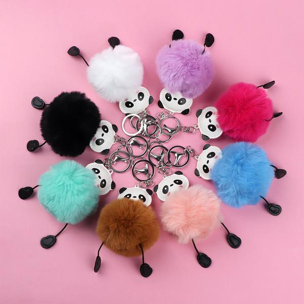 Adorável Panda Macia Bola De Pêlo Do Falso Brinquedo De Pelúcia Titular Pompom Pele Artificial Keychain Crianças Presente