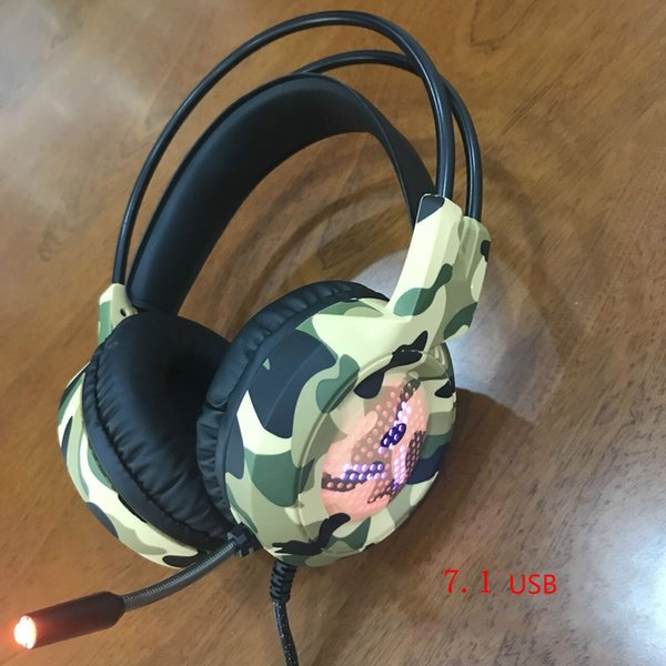 Camouflage Game Headphone Music Audio Big Earphone Headphones With Mic Headset 7.1 Channel USB for PC Laptop Computer