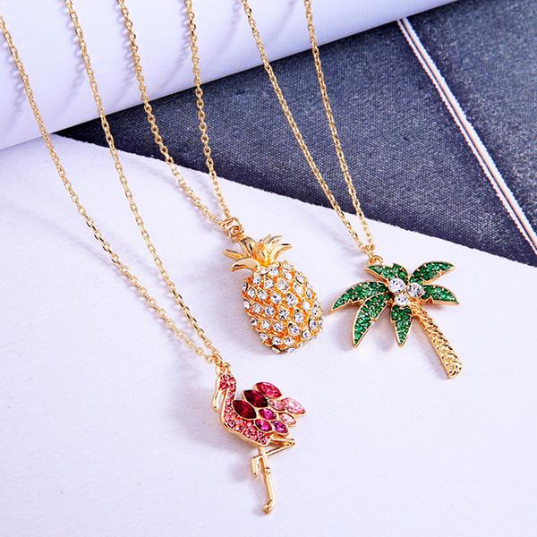 Kiss me Chic Flamingo Pineapple Akee Collana con ciondolo in cristallo Semplici accessori per gioielli donna moda