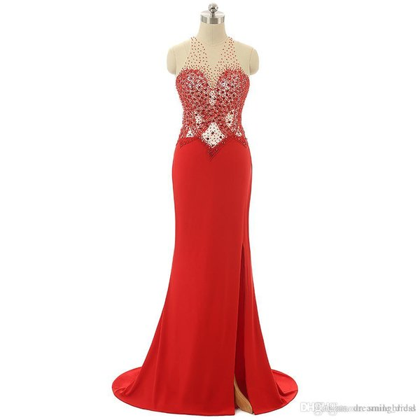 Real Photos Red Evening Party Dress Sexy Mermaid Beads Crystals Side Split V Neck Floor Length Evening Gowns For Women JMC009