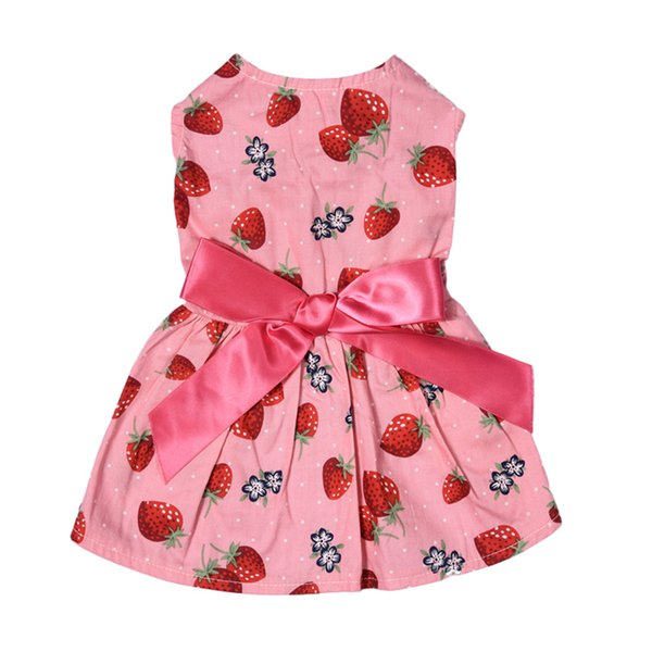 New Arrival Strawberry Patterns One-piece Puppy Dog Dress Pet Princess Dress Cute Pet Clothes For Party And Leisure1pcs Shipping