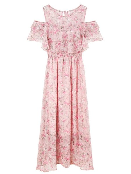 Pengpious Short Sleeve Ruffles Collar Postpartum Women Breastfeeding Chiffon Floral Nursing Dress High Waist Long Loose Dresses