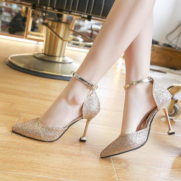 2020 Nouveau style a souligné la boucle de la mode de la mode talons aiguilles à talon aiguille chaussures habillées femmes