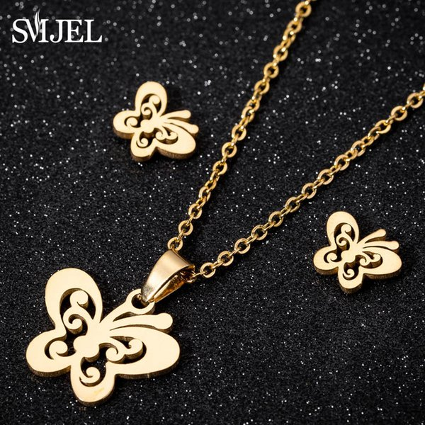 SMJEL Stainless Steel Necklace Women Jewelry Sets Bijoux Animal Butterfly Necklaces Pendants Cute Earrings Kids Gifts