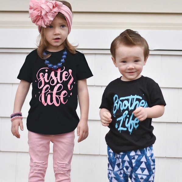 INS Jungen T-Shirt Mädchen Brief Regenbogen gedruckt Baumwolle Casual Tops Kinder runden Kragen Kurzarm T-Shirts 2019 Sommer neue Kinder Kleidung F6111
