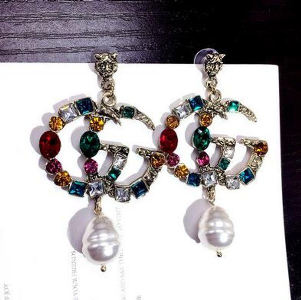 best selling 33 Wholesale Double Layers Earrings Letters Dangle Drop Pearl Earring Gold Silver Ear Studs For Women Wedding Party Jewelr