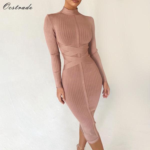 Ocstrade Bodycon Dress 2019 Nude Turtleneck Rayon Long Sleeve Bandage Dress High Quality Ribbed Womens Midi Bandage Dress Sexy Q190409