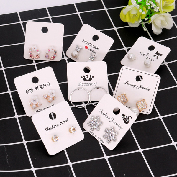 best selling 100pcs lot 4x4cm White Color Paper Different Design Colorful Earrings Ear Stud Card Jewelry Display Hang Tag Label Printing