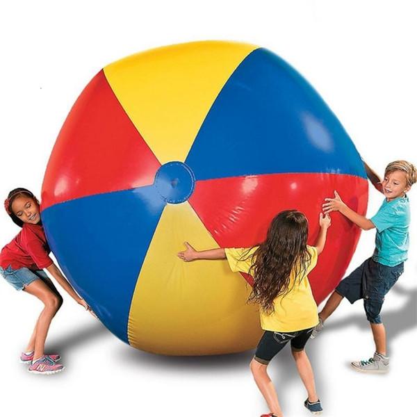 80 cm / 100 cm / 150 cm Pallone da spiaggia gonfiabile gigante Grande PVC a tre colori addensato Acqua pallavolo Calcio Outdoor Party Giocattoli per bambini SH190913