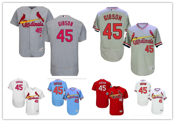 2019 Cardenales Jerseys # 45 Bob Gibson Jerseys hombres # MUJER # JOVEN # Hombres Jersey de béisbol Ropa deportiva profesional cosida majestuosa