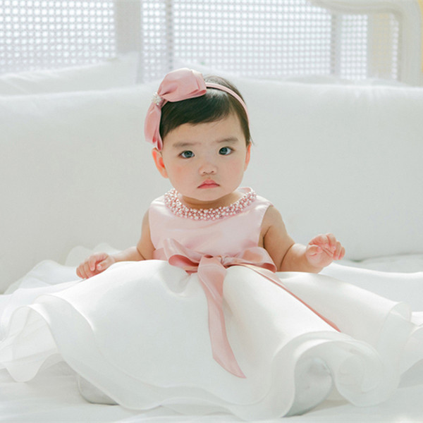 Newborn Baby Girls Summer Clothes Dress Toddler Girl 1 Year First Birthday Outfits Pink Tutu Kid Party Dresses 6 12 24 Months Y19050602