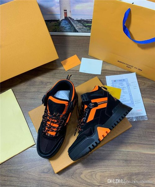 LOVUITTO HIGH TOP TRAINER MEN SNEAKER BOOT Black Orange Casual Shoes sneakers Trainer With Original Box