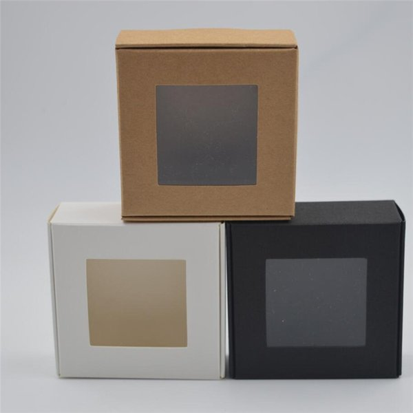 30pcs Small Kraft paper box with window,brown cardboard handmade soap box,white craft paper gift box,black packaging jewelry box