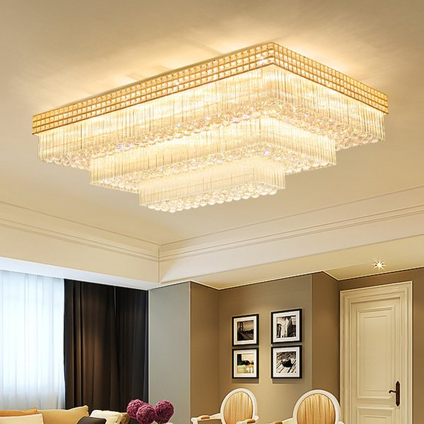 Modern rectangle crystal ceiling chandelier lamp gold luxury chandeliers crystal lighting led ceiling lights for bedroom living room