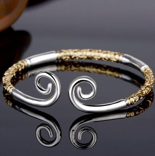 Westward Journey fashion tight hoop bracelet gold hoop open silver bracelet lettering retro bracelet adjustable