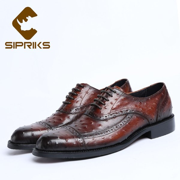 Sipriks Luxury Mens Real Cow Leather Oxfords Printed Ostrich Skin Men Shoes Elegant Black Lace Up Brogue Dress Shoes Hipster 44