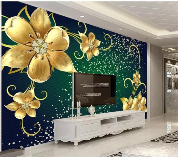 Papel pintado de la pared del fondo 3D de los murales 3d de la joyería del oro rico para el salón