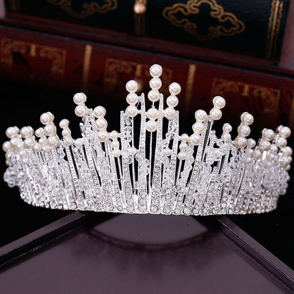New Vintage Multilayers Luxury Silver Gold Crystal Pearl Tiara Crown Wedding Hair Accessories Bridal Party Jewelry Big Headbands D19011005
