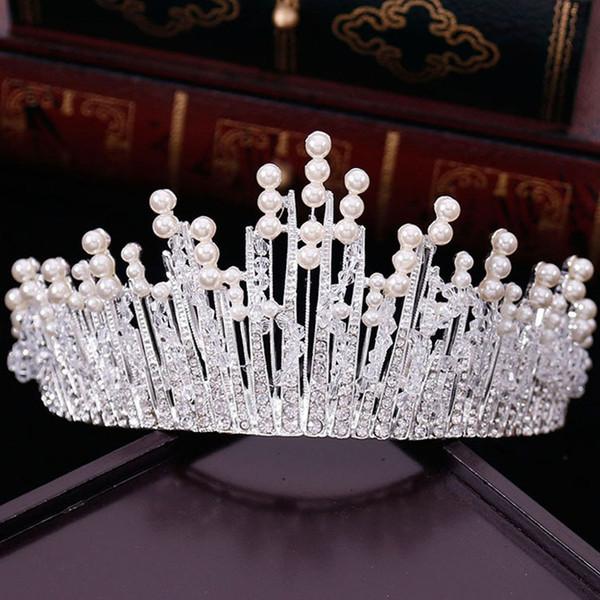 Nouveau Vintage Multilayers De Luxe Argent Or Cristal Perle Tiara Couronne De Mariage Accessoires De Cheveux De Mariage Partie Bijoux Grand Bandeaux D19011005
