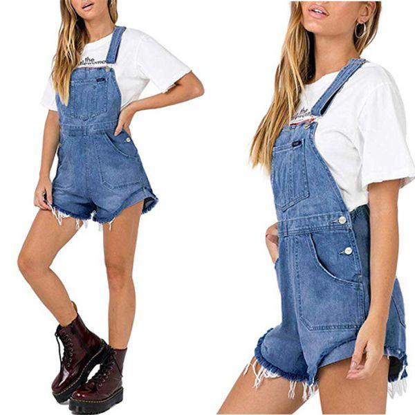 Denim Macacão Shorts Mulheres Azul Verão Curto Macacões Playsuits Romper Curto Femme Jean Shorts