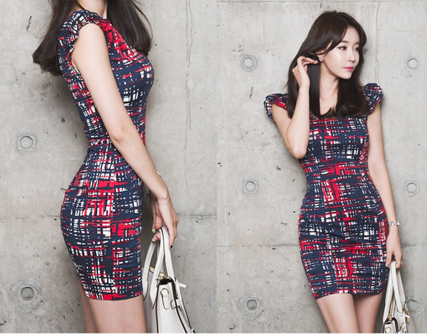 New Fashion Korean Summer 2019 Women Wear Lady OL Work Dress V Collar Petal Sleeve Printing Short Skirt QC0193