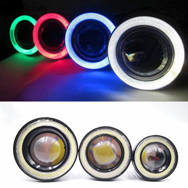2pcs 12V Universal COB LED DRL Luces de conducción blanco azul rosa amarillo verde rojo Angel Eyes Lámpara de niebla 2.5