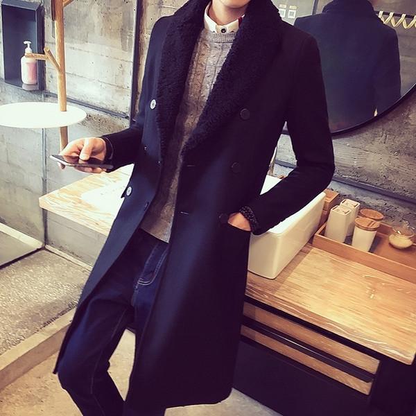 2020 새로운 남성 긴 트렌치 겨울 코트 옷깃 모피 칼라 Sabretudo이 두꺼워 따뜻한 모직 코트 슬림핏 더블 브레스트 옴므 외투