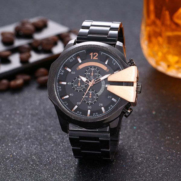 sell luxury watch stainless steel analog display mens watches date quartz wristwatches gifts business clock hours relogio masculino, Slivery;brown